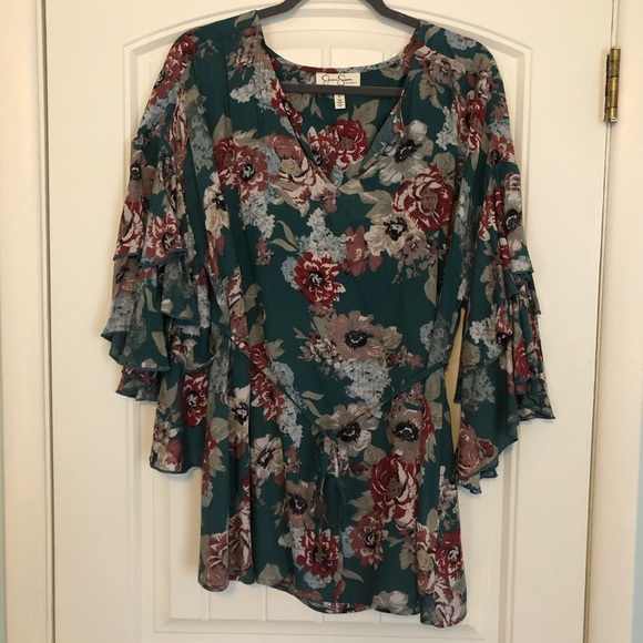 d5bb56d6edde5 Jessica Simpson Tops - NWOT Jessica Simpson Maternity green floral blouse
